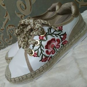 Aldo Embroidered Espadrille Sneakers Womens Size 7